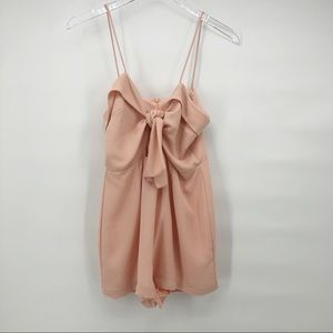 EMORY PARK pink romper with cutout and bow detail
